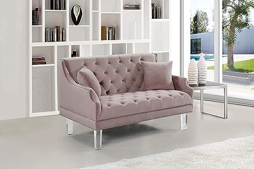 Meridian Furniture Roxy Collection Modern | Contemporary Velvet Upholstered Loveseat Sofa