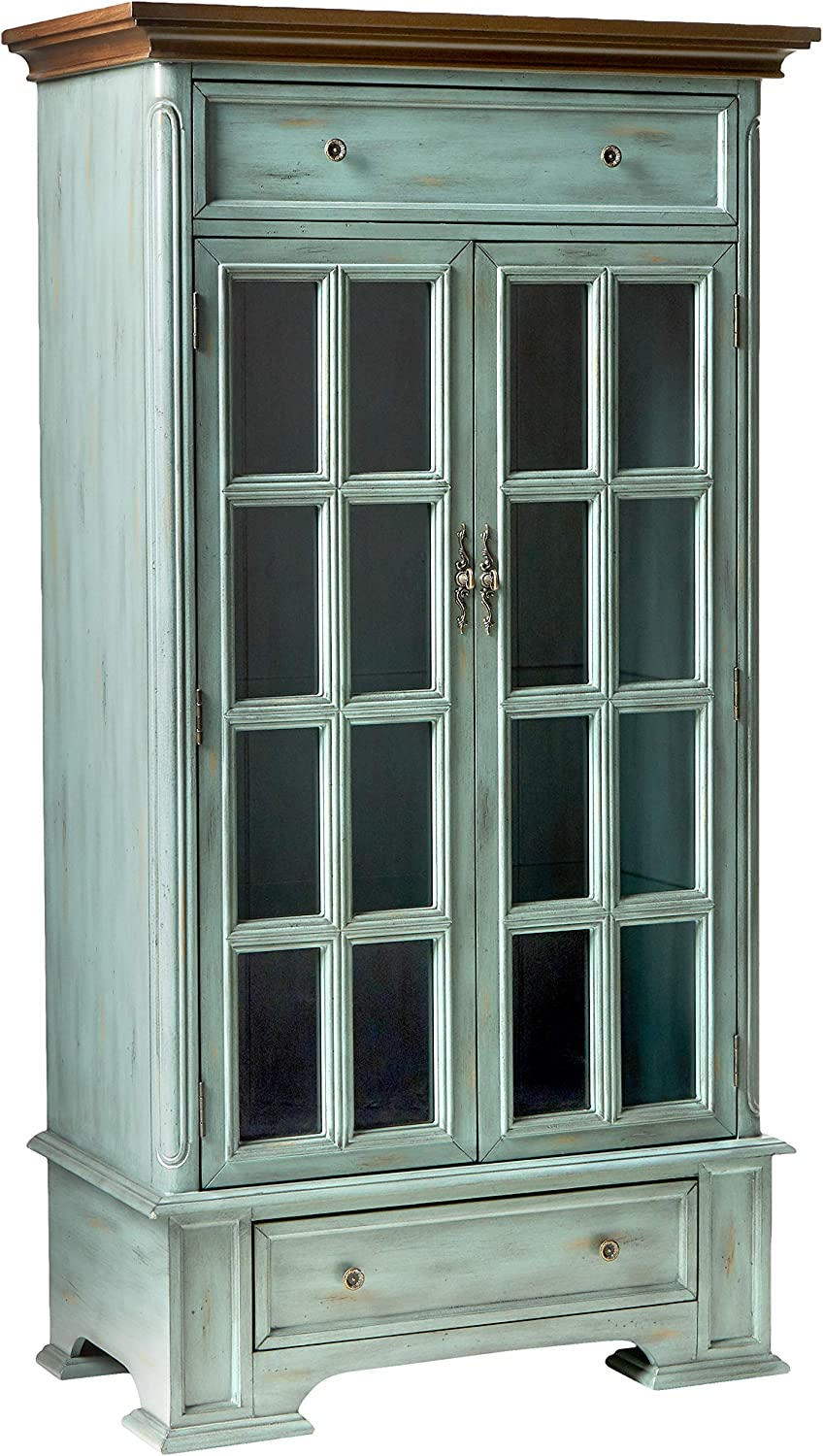 Stein World Furniture Hartford Cabinet, Antique Blue and Wood Tone