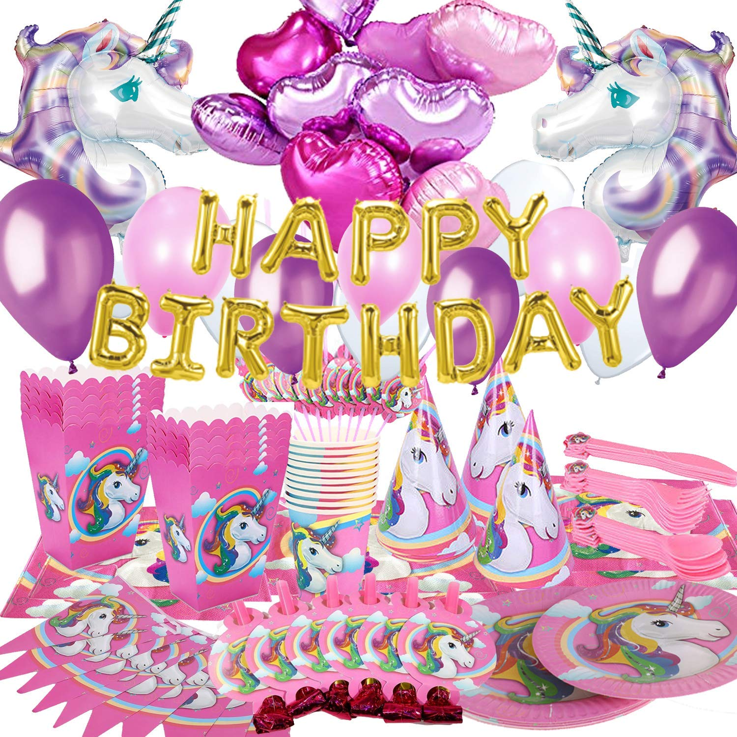 Unicorn Party Supplies   Party Decorations   Birthday Party Supplies    Unicorn Party Decoration   Kids Party Favors   Pink Unicorn Party Supplies  Pack ...