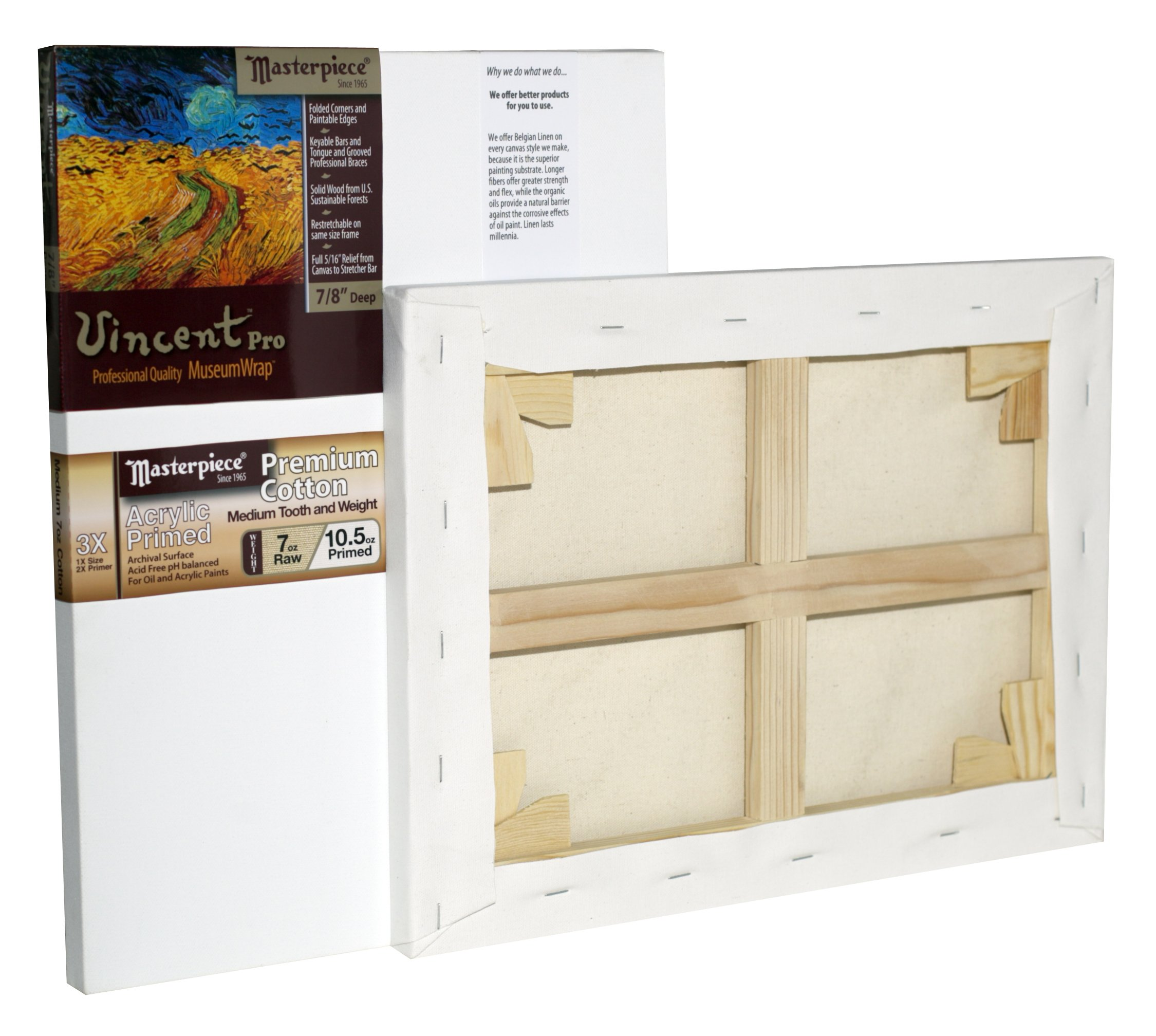 Masterpiece Artist Canvas 41057 Vincent PRO 7/8'' Deep, 24'' x 36'', Cotton 10.5oz - 3X - Monterey Most Popular by Masterpiece Artist Canvas