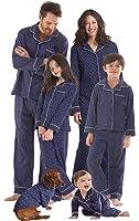PajamaGram Dots and Stripes Matching Family Pajamas, Navy Blue