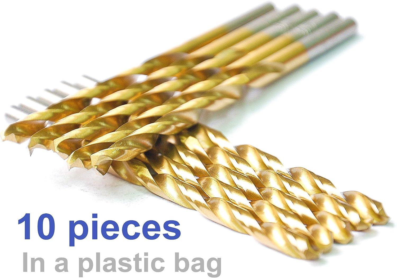 9//64 Zinc alloy etc Aluminum ideal for drilling on mild steel copper Metal drill Pack In Plastic Bag DRILLFORCE HSS Jobber Length 10 PCS,9//64 x 2-7//8Titanium Coated Twist Drill Bits