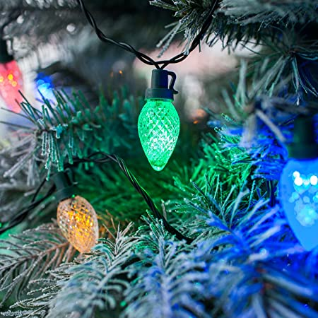 80 multi coloured led c7 christmas fairy lights by lights4fun