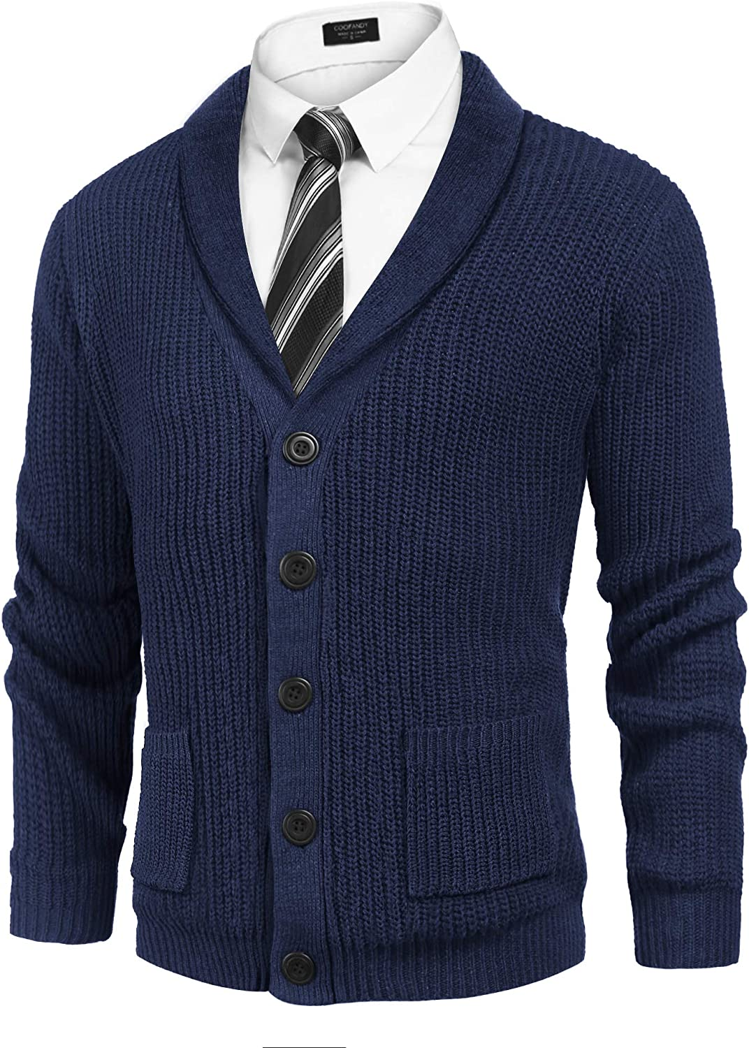 COOFANDY Men's Shawl Collar Cardigan Sweater Slim Fit Cable Knit Button up Cotton Sweater with Pockets