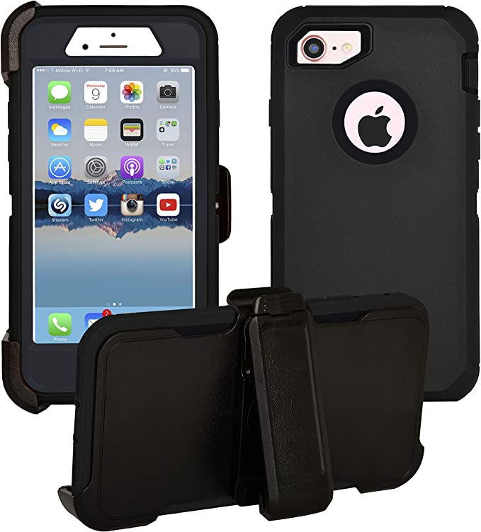 Hand-e Muscle Case for Apple iPhone 8 Plus // iPhone 7 Plus Defender Black//Black Hands Free Kickstand /& Belt Clip Triple Layer Protection Drop Proof