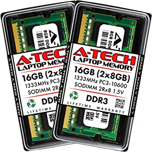 A-Tech 16GB (2x8GB) DDR3 1333MHz SODIMM PC3-10600 2Rx8 Dual Rank 1.5V CL9 204-Pin Non-ECC Unbuffered Notebook Laptop RAM Memory Upgrade Kit