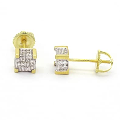 41a569b69 Amazon.com: HQ Gold Plated 925 Sterling Silver Stud 4 Square Fully ...