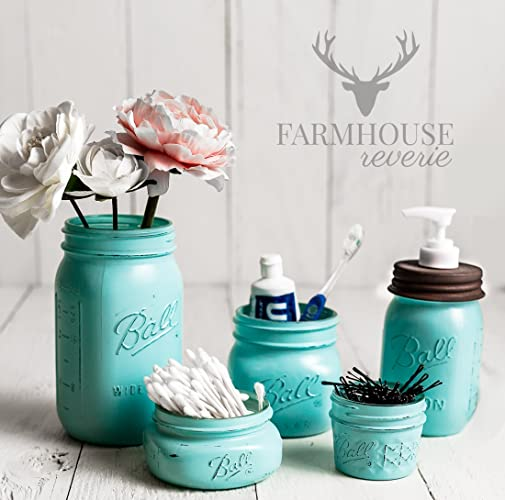 Vintage Blue Rustic Mason Jar Bathroom Set (Tiffany Blue Bathroom Storage  Set; Farmhouse Bathroom