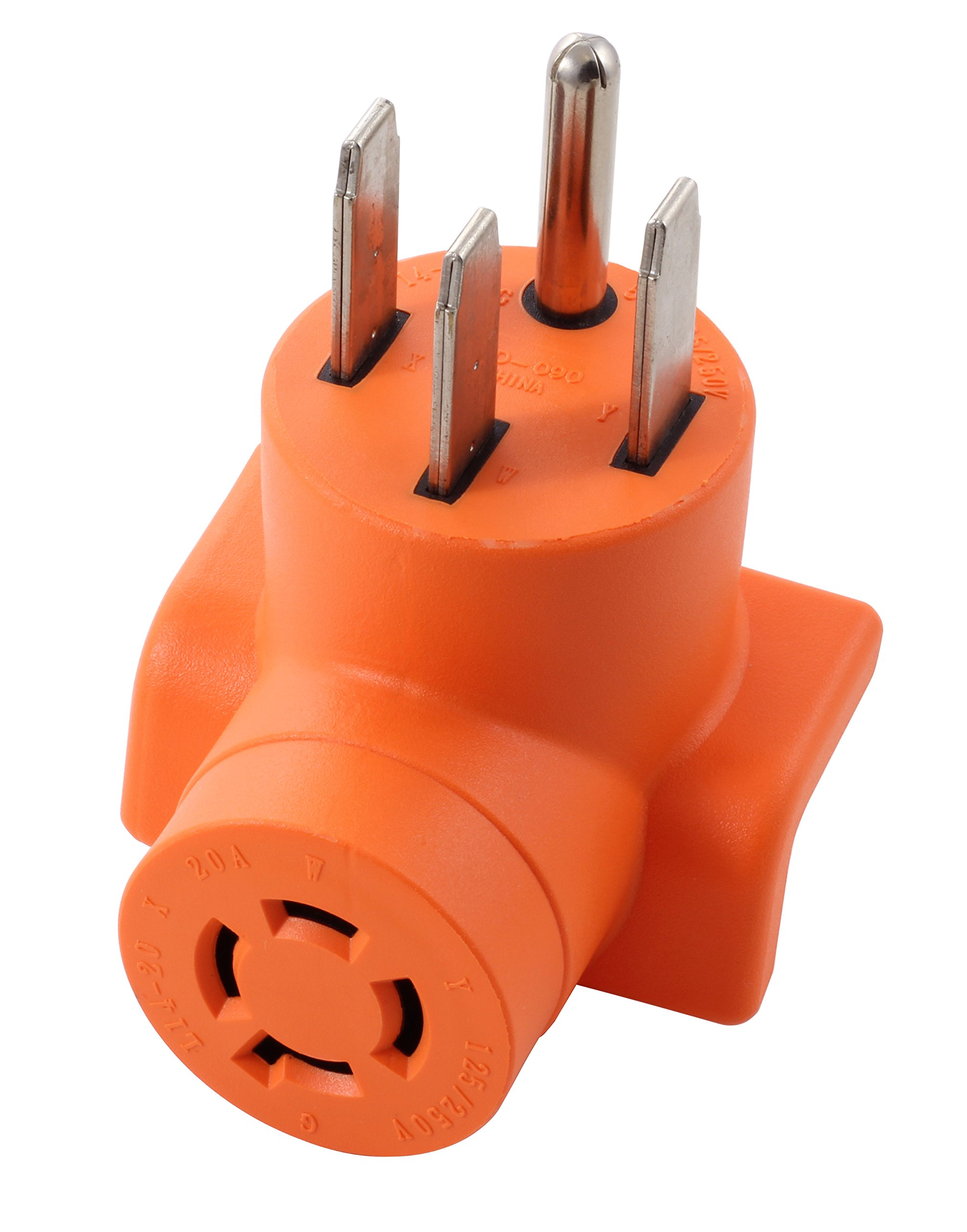 AC WORKS [AD1450L1420] Range/ RV/ Generator Outlet Adapter 4-Prong 14-50P Plug to 4-Prong 20Amp Locking L14-20R Adapter