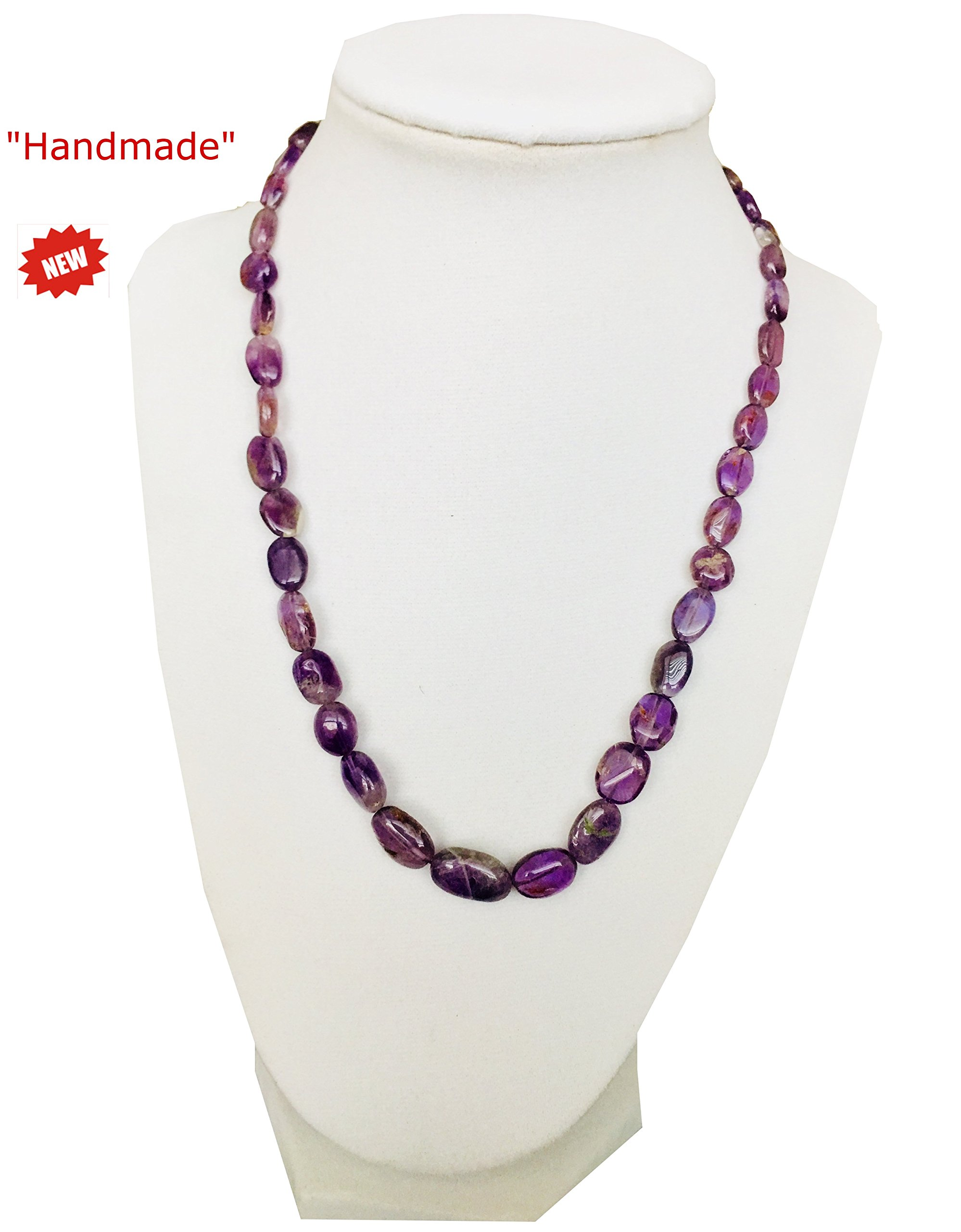 Himalayan Handmade Necklace Semi Quality Purple Color Transparent Gemstone Beads With Gift Box