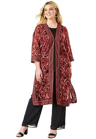 good service biggest discount top-rated professional Amazon.com: Roamans Women's Plus Size Duster & Pant 3-Piece ...