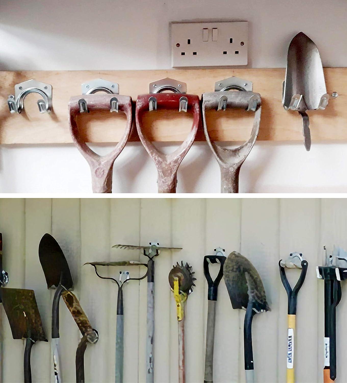 Werkzeughakenset zum Aufh/ängen von Gartenwerkzeugen Doppelhakendesign mit starker Tragf/ähigkeit und Platzersparnis