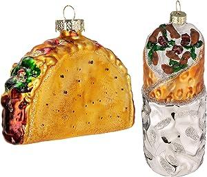 JOYIN Christmas Glass Blown Ornament Taco and Burrito Set Handcrafted Christmas Tree Decoration Christmas Party