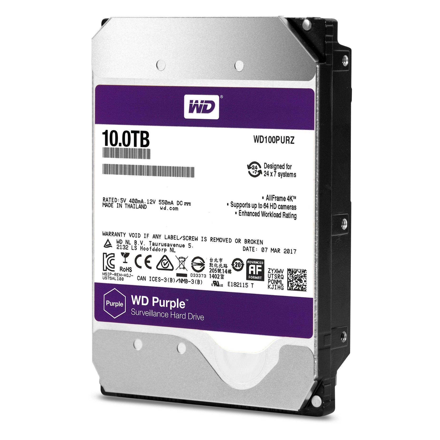 WD Purple 10TB Surveillance Hard Disk Drive - 5400 RPM Class SATA 6 Gb/s 256MB Cache 3.5 - WD100PURZ
