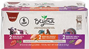 Purina Beyond Natural Gravy Wet Dog Food Variety Pack, Grain Free Beef, Chicken and Turkey Recipes - (6) 12.5 oz. Cans