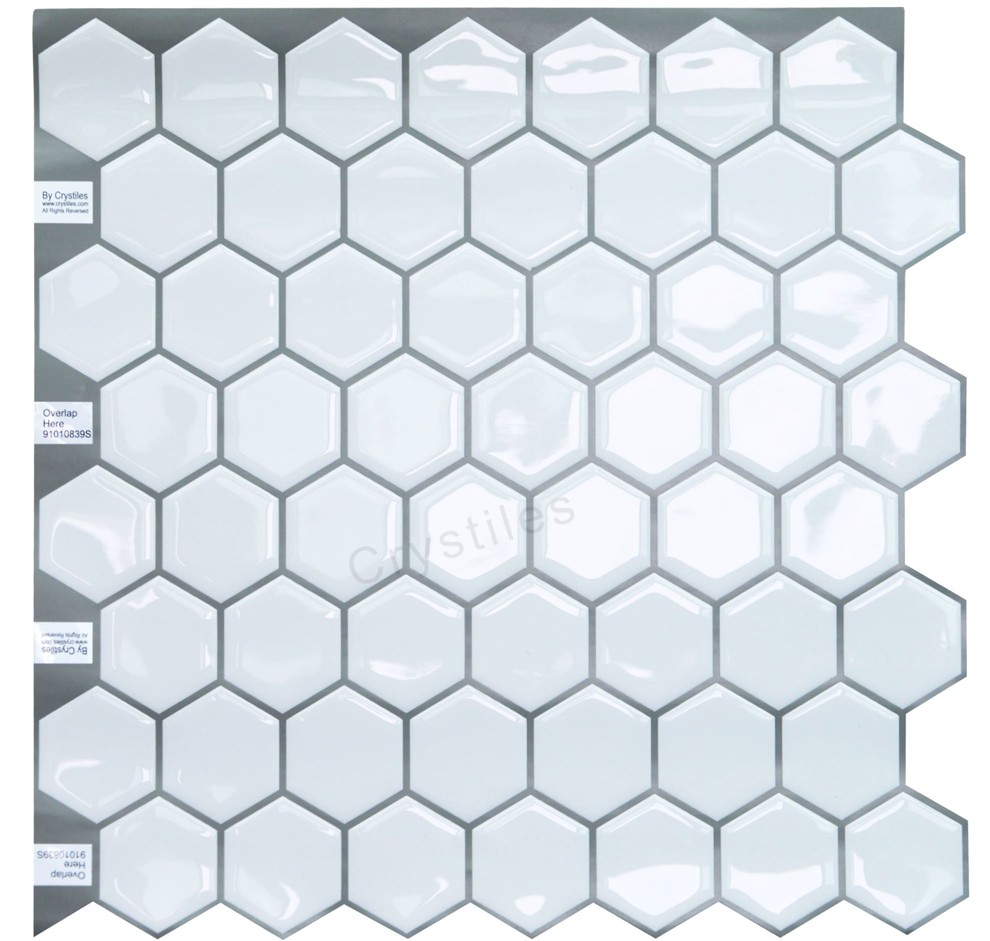 Crystiles peel and stick DIY backsplash tile stick-on vinyl wall tile, perfect backsplash idea for kitchen and bathroom décor projects, Hexagon White?Item #91010839, 10'' X 10'' each, 4 sheets pack by Crystiles