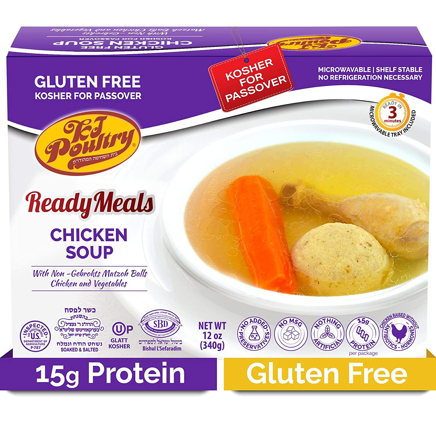 Kosher For Passover Food Matzo Ball Chicken Soup - MRE Meat Meals Ready to Eat - Gluten Free (1 Pack) - Prepared Entree Fully Cooked, Shelf Stable Microwave Dinner