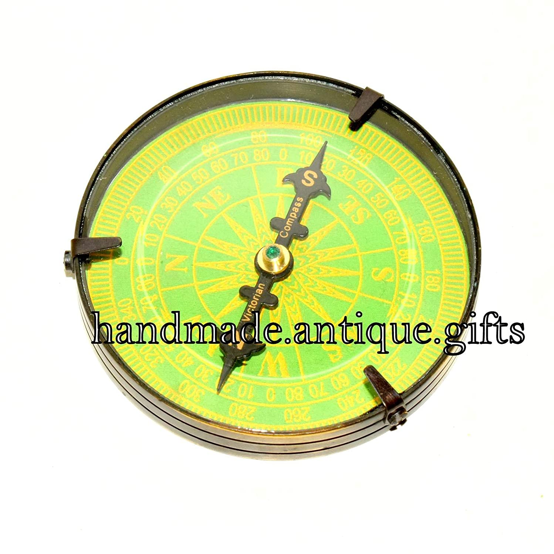 Collectiblesアンティークソリッド真鍮コンパスビンテージハンドメイド真鍮コンパス B01N5LY16W