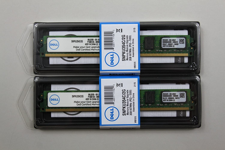 Dell 4GB (2X2GB) PC2-5300U SNPKU354C/2G for Dell Optiplex 330 360 740 745 755 760 T3400, 380,XPS 410 A6993732