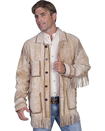 6361c06c5 Amazon.com: Scully Men's Distressed Leather Fringe Coat Tan 38: Clothing
