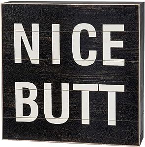 "Yankario Funny Bathroom Signs Decor, Farmhouse Wooden Box Sign Wall Decor Art, 6"" Square Nice Butt"
