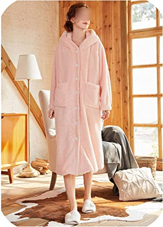 Winter Women Sleepwear Lolita Flannel Robe Hooded Pajamas Warm Bathrobe Hairball Sleep Robes Pink S At Amazon Women S Clothing Store