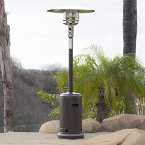 BELLEZE 48000BTU Portable Hammer Finished Propane Patio Heater (Mocha) Space Stove with Wheels for Outdoor