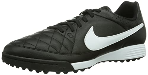 Nike Tiempo Genio Leather Turf Trainer Black BlackWhite 010 65 UK