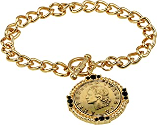 product image for American Coin Treasures Italian 20 Lira Coin Toggle Charm Bracelet - Italian 20 Lire Goldtone Toggle Bracelet with Faceted Round Jet Glass Stones- Italian Medallion Bracelet