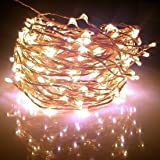 Fairy Lights XX-long 60 ft / 360 Leds. For Room Decorations and Outdoors. Soft Warm White Color Starry Lights on Copper Wire String. For USA, EU, and AU.