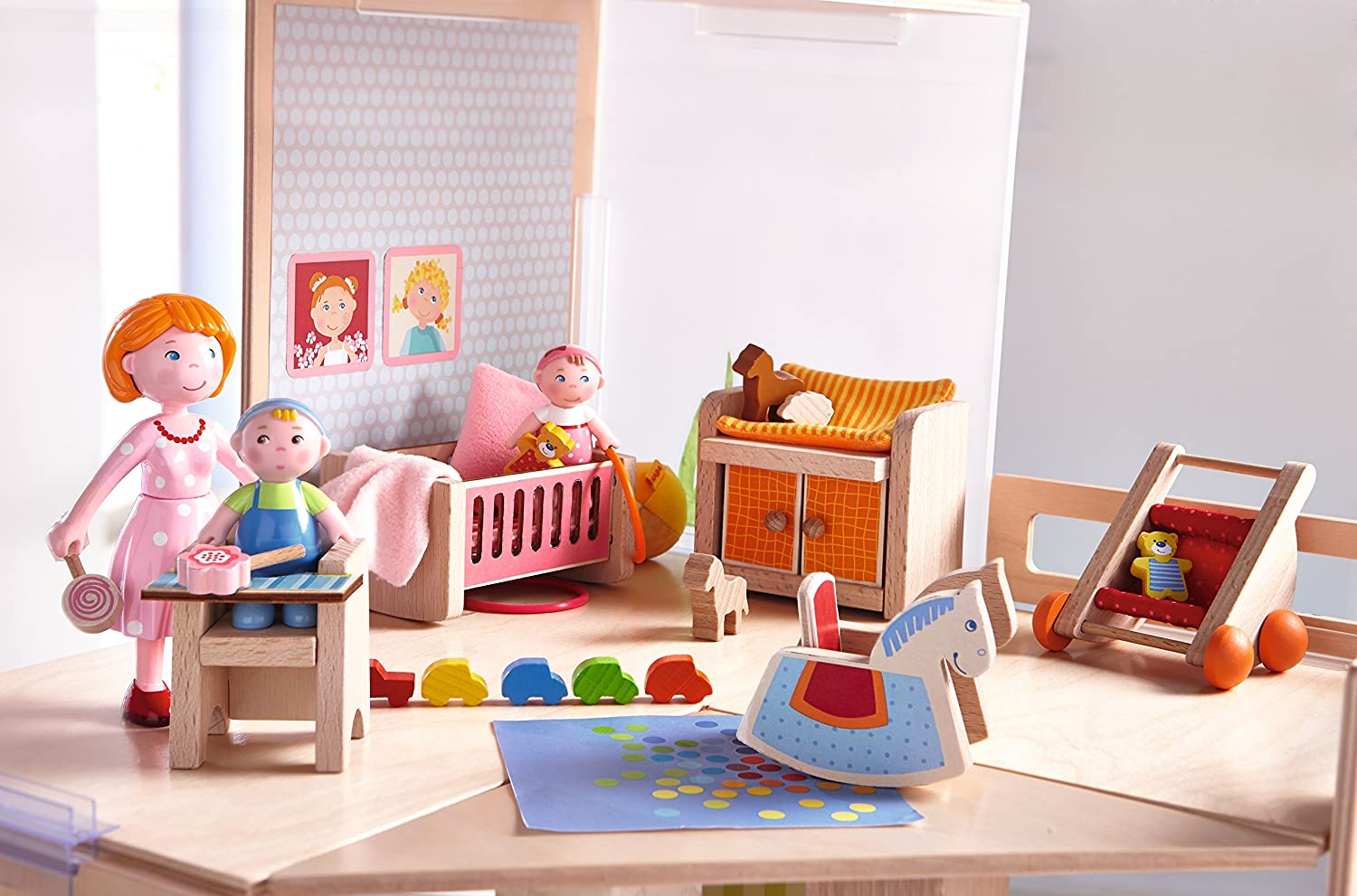 HABA LITTLE FRIENDS DOLLHOUSE FURNITURE 7 PIECES LIVING ROOM BEDROOM NEW!