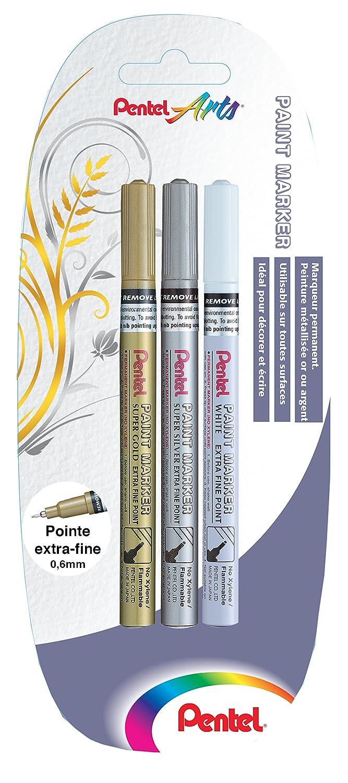 Pentel MFP10 X 3 xzw – Lote de 3 (punta permanentes (punta 3 extrafina) oro/plata/color blanco aef157