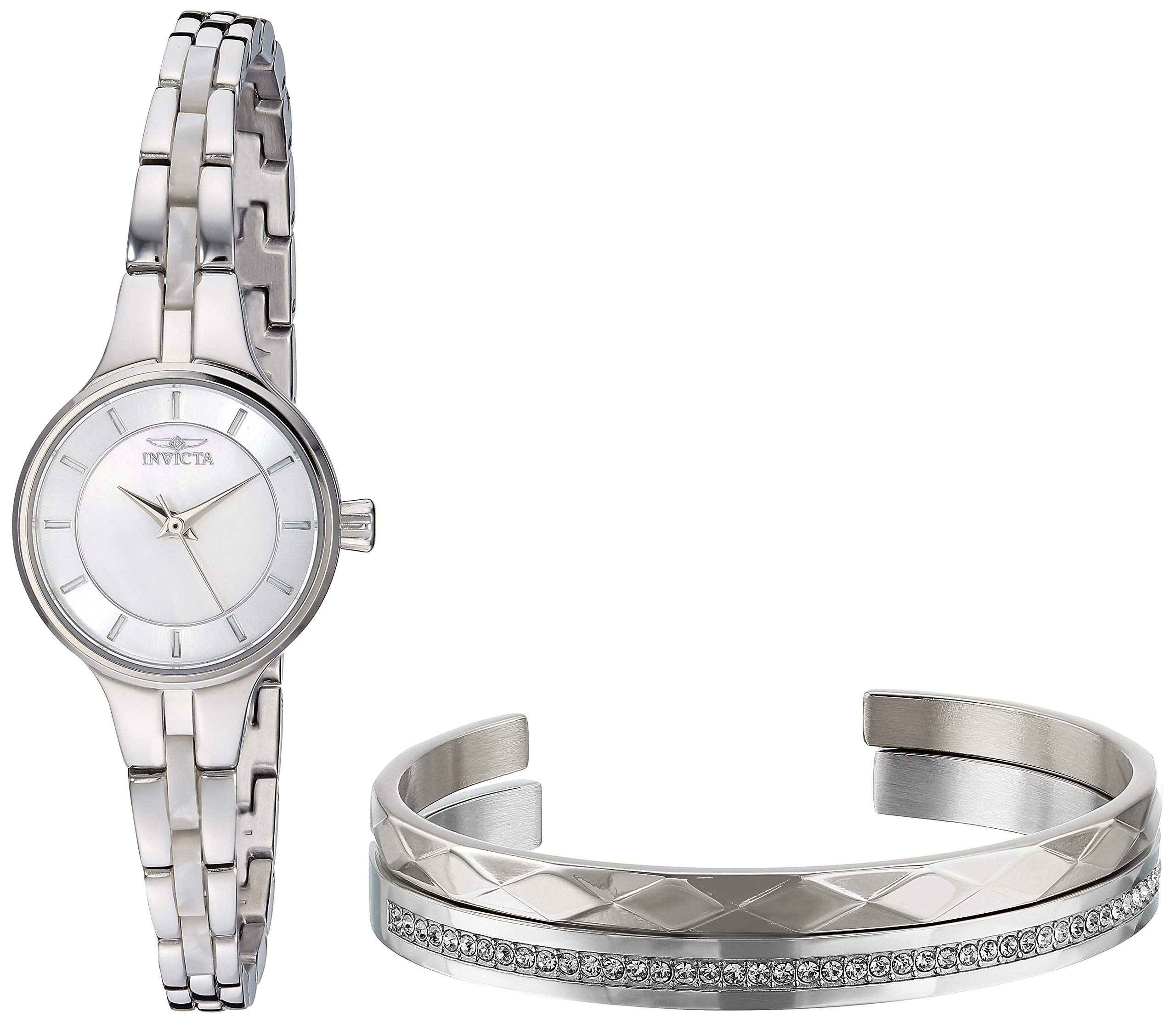 ویکالا · خرید  اصل اورجینال · خرید از آمازون · Invicta Women's Angel Quartz Watch with Stainless Steel Strap, Silver, 8 (Model: 29277) wekala · ویکالا