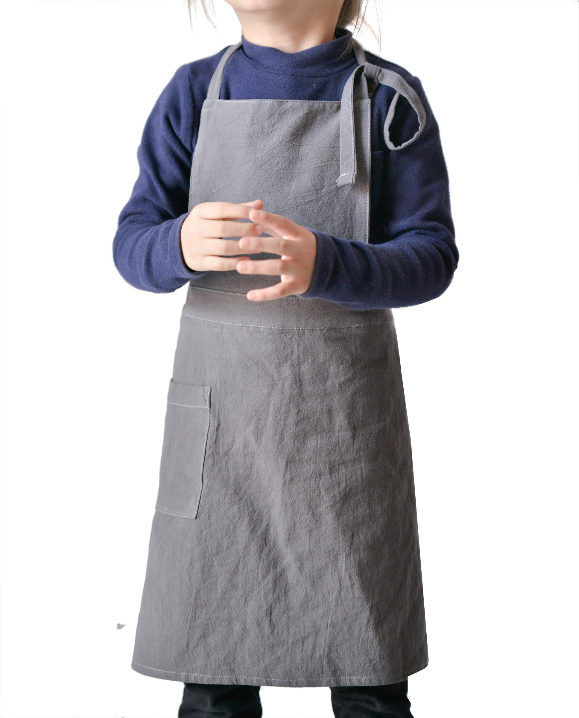 Children Bib Apron Kids Apron with 1 Pocket and Adjustable Neck for Kitchen,Classroom,Community Event,Arts and Crafs, Painting and Baking,Age 6-12(Medium,Dark Grey)