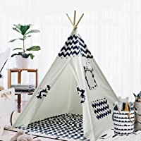 Teepee Tent for Kids Teepee Play Tent Mat for Boys Indoor Outdoor Play House Tent Indian Canvas Tipi Tent Wigwam Children Navy Chevron Tee Pee