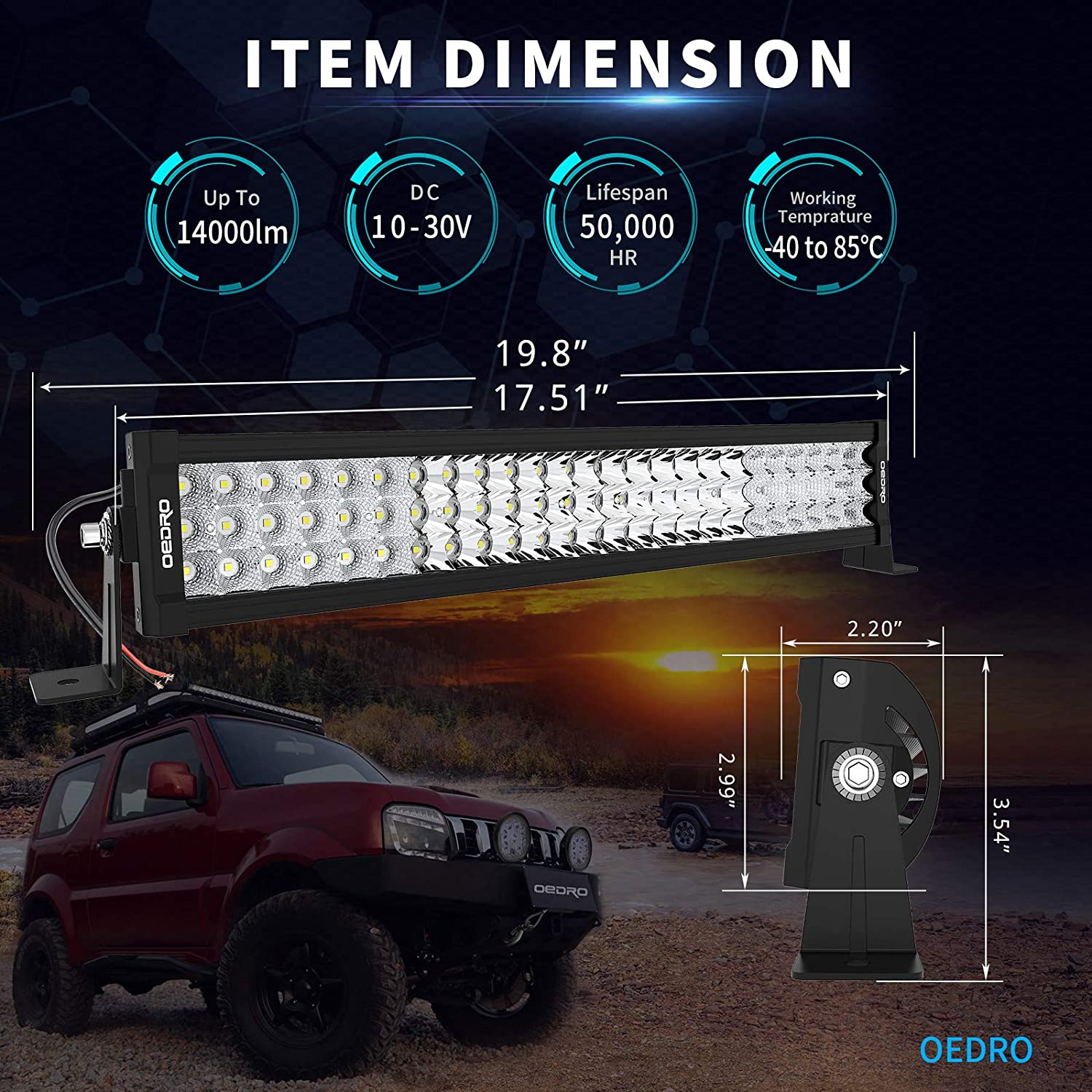 LED Light Bar Straight OEDRO 20Inch with Mounting Bracket 389W Tri-Row LED Light Spot Work light with Wiring Harness for Off Road Lights Truck Light Boat Lighting for Truck Pickup Jeep SUV ATV UTV