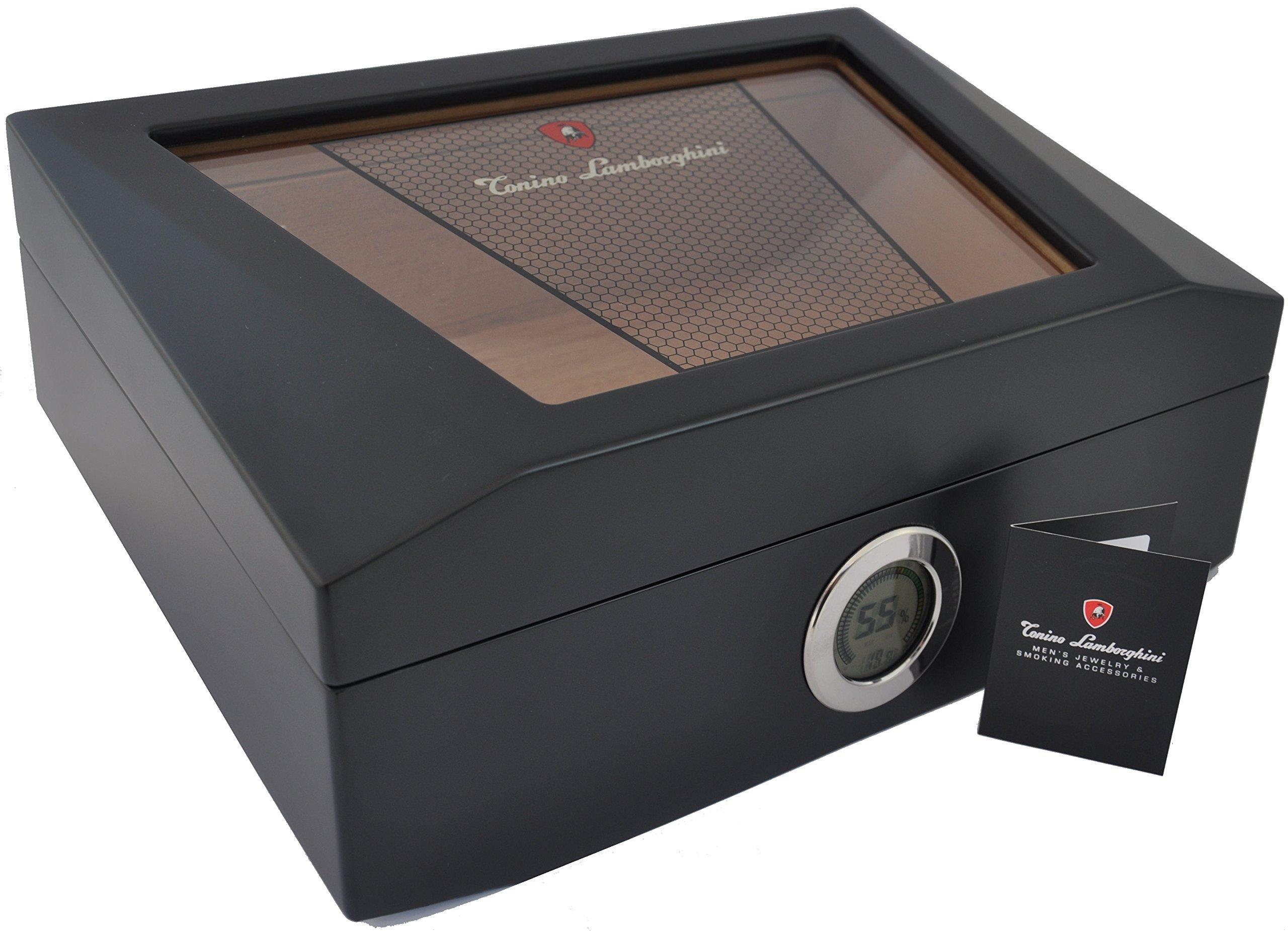 Lamborghini Humidor - hold 75 cigars - digital hygrometer by LAMBORGHINI