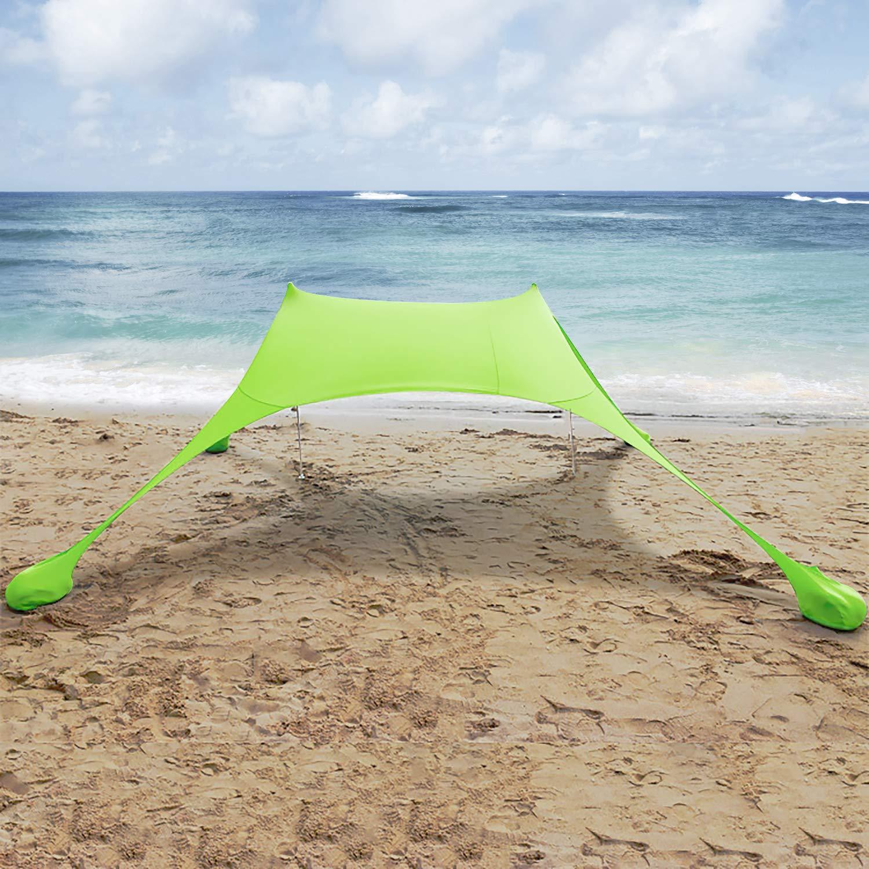 Parques MENCOM Toldo port/átil para Playa con Anclajes de Bolsas de Arena Ligero 100/% Lycra SunShelter con Impermeable UV Protection 210x210CM para ni/ños y Familia en la Playa Camping y Picnic