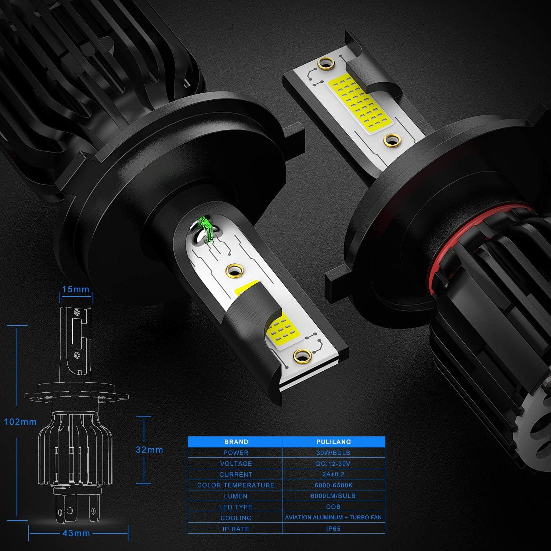 PULILANG H4 Hi//Lo COB LED Headlights Bulbs Mini Size 60W 12000LM Headlights All-in-One Conversion Kit High Beam Low Beam 6000K White 12-24V IP65