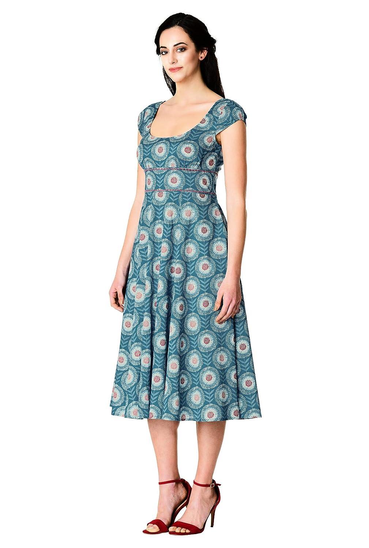 8956bb96325 eShakti FX Floral Graphic Print Cotton Banded Waist Dress Teal Aqua Rose at Amazon  Women s Clothing store