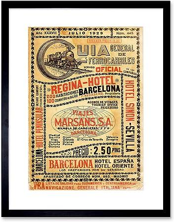 Wee Blue Coo Travel Antique Spanish Rail Timetable Steam Engine Spain Lámina Enmarcada 12 x 16 Pulgadas: Amazon.es: Hogar