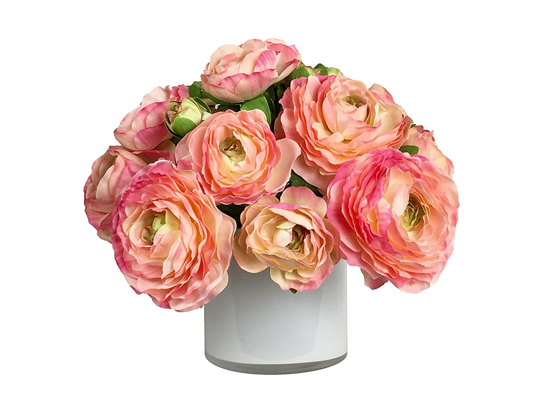RG Style シルクのランチキュラス 花瓶 造花 アレンジメント B078SY12TY