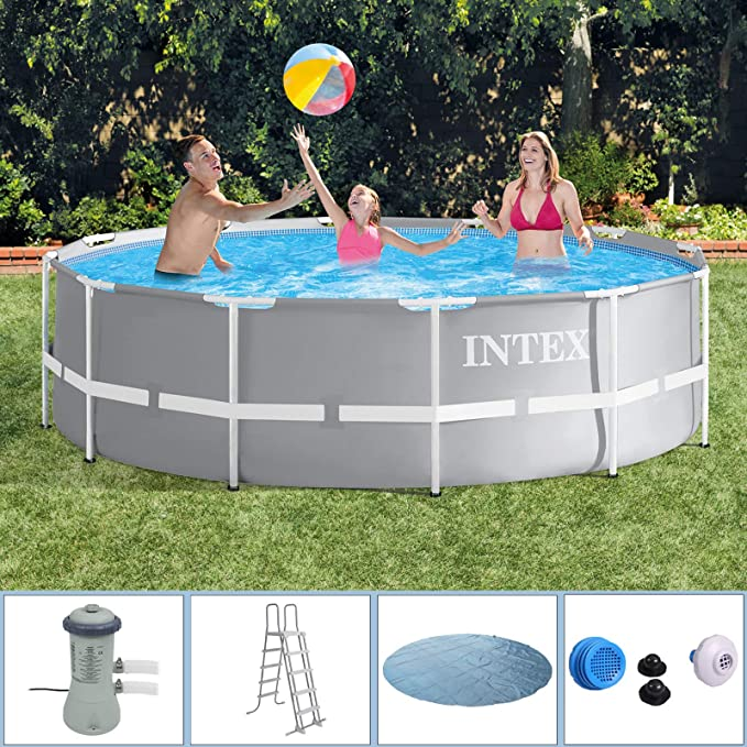 Intex 366 x 91 Piscina con bomba de filtro, seguridad Escalera, Solar Lona, Set de conexión para Pool Piscina Frame metal acero pared: Amazon.es: Jardín