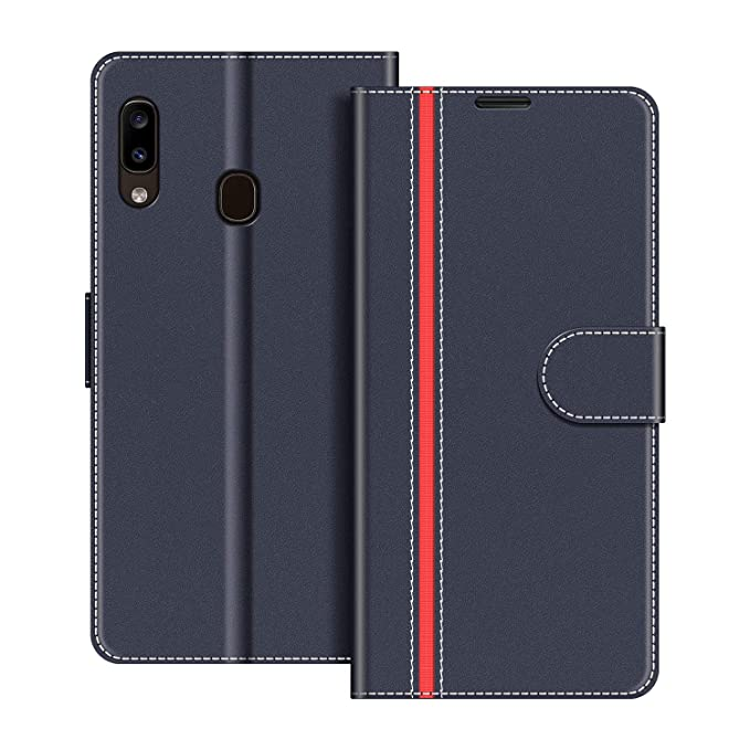 Red Amaze!uk Samsung Galaxy A20e Case Cover Leather Flip Protective Wallet Style Book Magnetic Stand Samsung A20e Phone Case