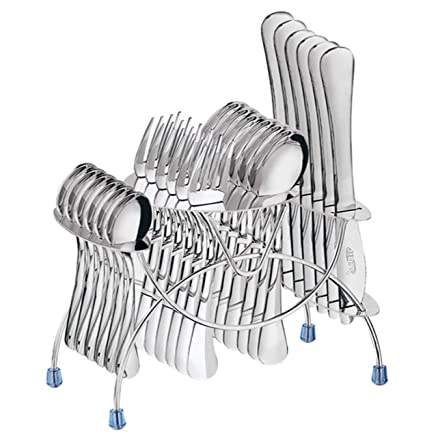 WHITE 24 PC CUTLERY SET HIGH QUALITY STAINLESS STEEL WITH STAND ON RACK