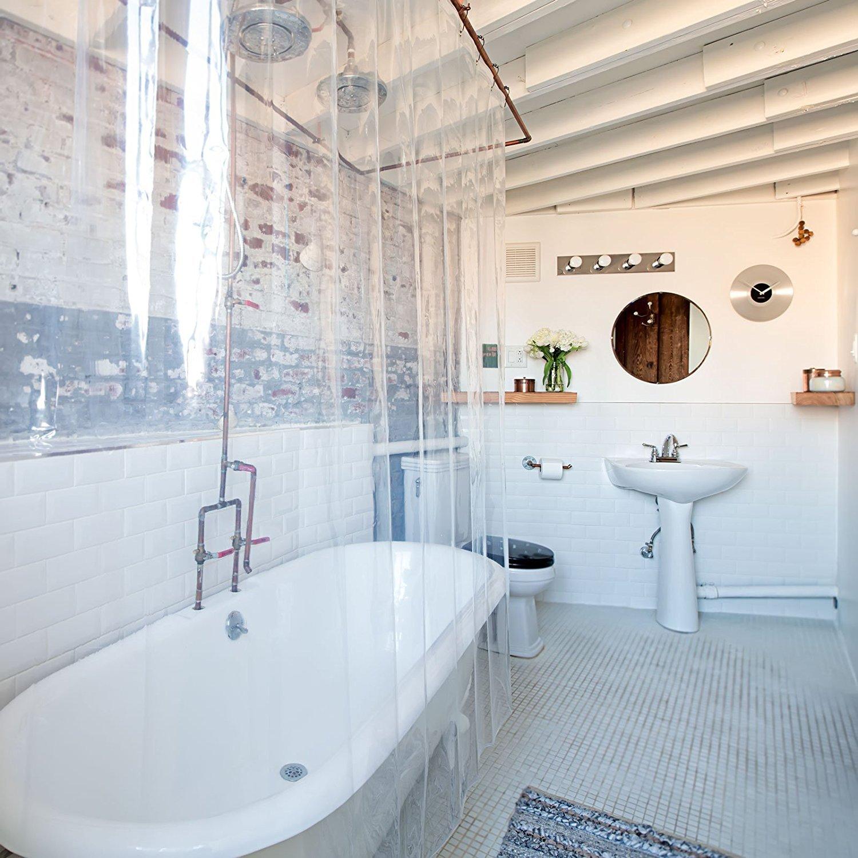 Sencilla cortina de ducha anti moho y con imanes.  Medida 180x180cm.