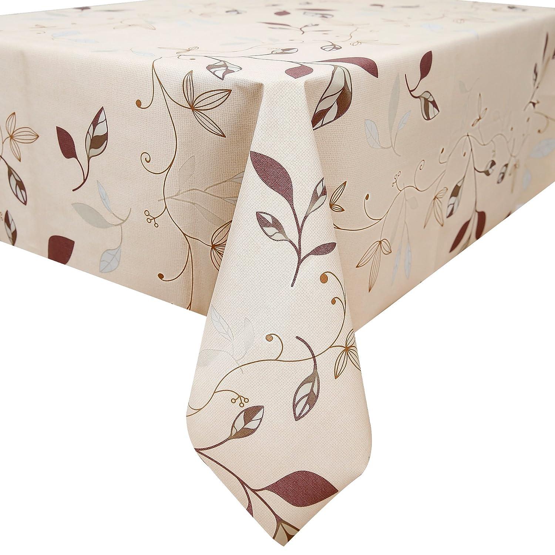 fancy-fix Natural Leaves Pattern Oil-proof Wipe Clean Table Cloth Plastic Tablecloths 137 x 200cm [Energy Class A+++] Dekore ZBB003