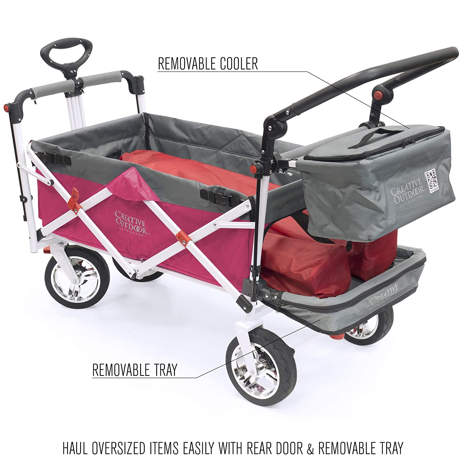 Silver Series Beach Park Garden /& Tailgate Black Creative Outdoor Push Pull Collapsible Folding Wagon Stroller Cart for Kids
