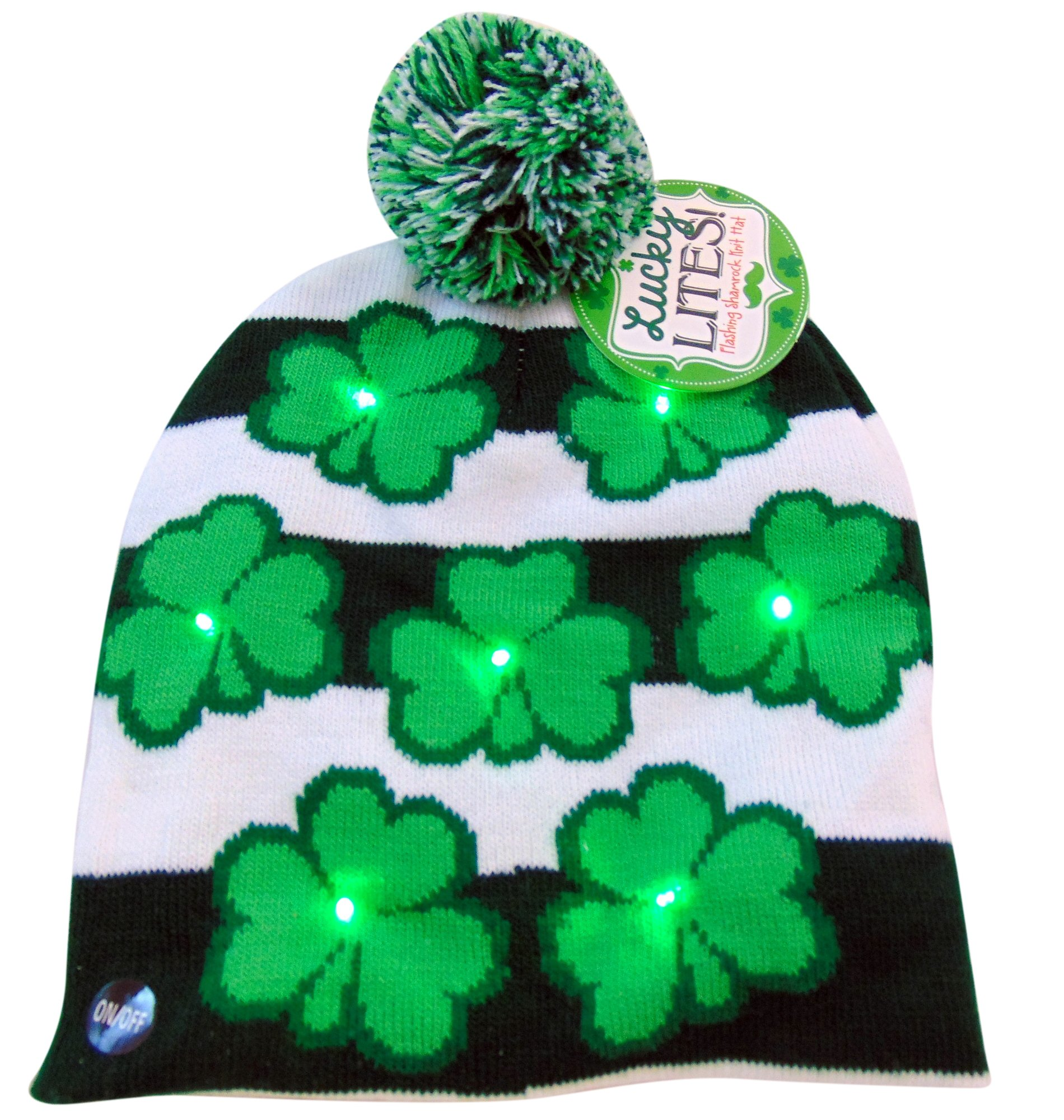 386db140cdedb0 DM Imports St Patricks Day Irish Light Up Beanie Skull Cap with ...