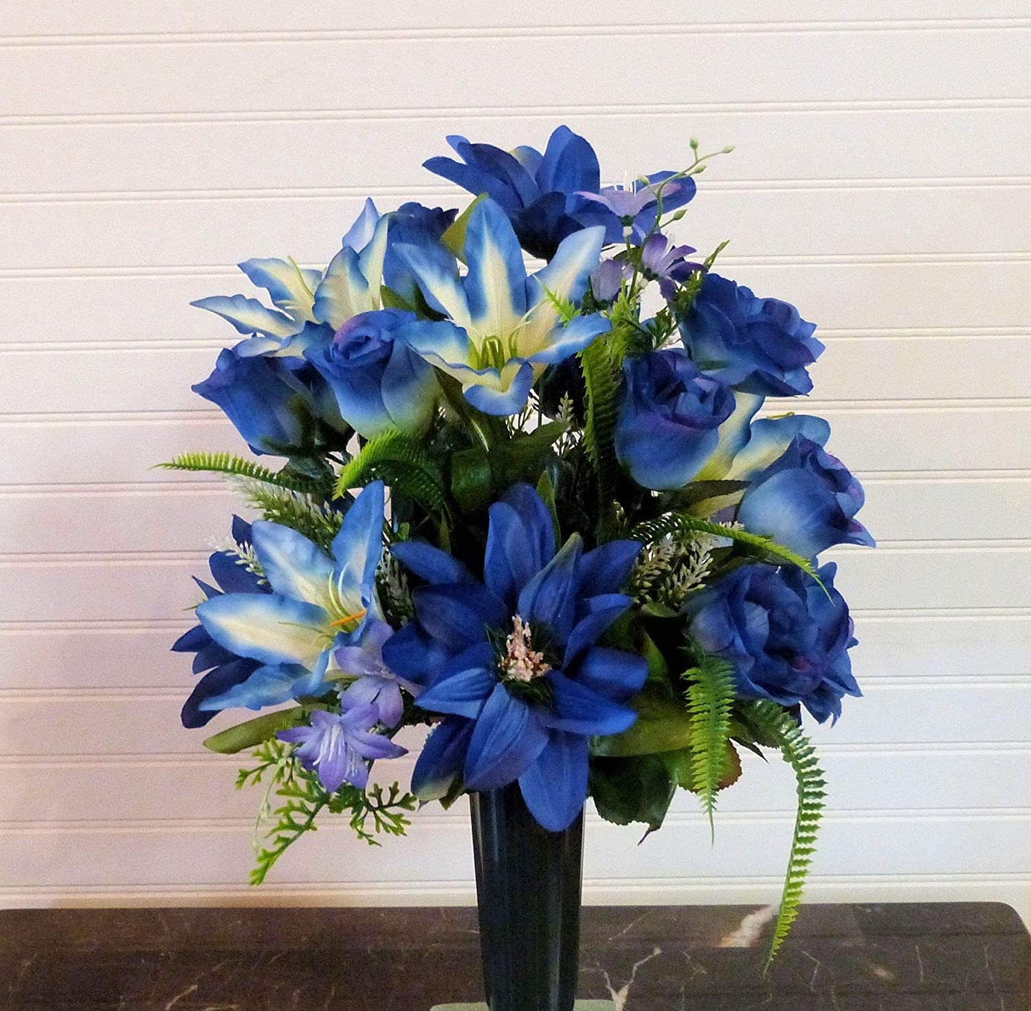 Flowers For Cemetery Vase Cemetery Vase Flowers Cemetery Arrangement With Blue Lilies